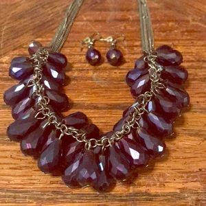 Jewelry - Deep purple iridescent glass necklace/earring set